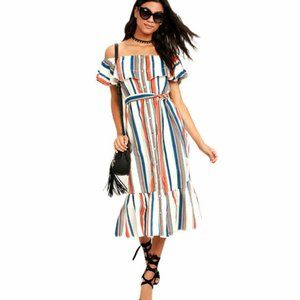 ASOS Moon River Striped Off The Shouder Dress Smal